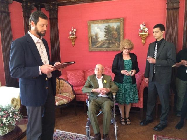 Van's 100th Birthday--Mayor Tobin, Van, Joyce Hicks, and Thomas Cain (Van's great grandson)